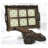 Wooden serving tray with ceramic inlays 12x 18,