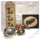 Vintage items including seashell ashtrays,