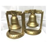 Vintage metal Liberty Bell bookends painted gold