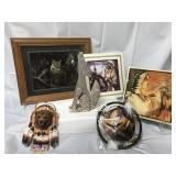 Foil framed art and other Native American decor