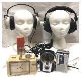 Vintage items including two headphones (one at