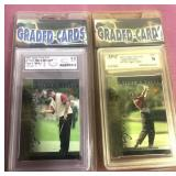 2 Tiger Woods Graded 9 Trading Cards