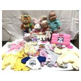 Vintage dolls, toys and doll clothes including