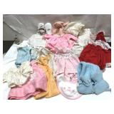 Lot of vintage baby girls clothes including a