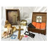 Religious lot, angels, crosses, prayer books and