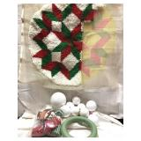 Crafting items including Styrofoam ornaments,
