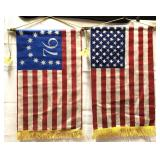 2 vintage hanging banner flags each one is 29 x