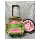 Personalized wheeled luggage and Build A Bear toy