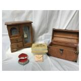 Wooden storage box, jewelry boxes and more