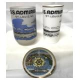 Vintage St Louis SS Admiral cups and plate