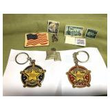Keychains, Stamps and Pins