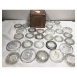 Glass Canning Lids and Vintage Coffee Tin