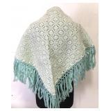 Beautiful vintage crocheted reversible shawl –