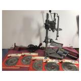 6 Skil Saw Blades, Drill Stand, Bolt Cutters, and