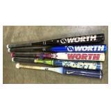 Five softball bats