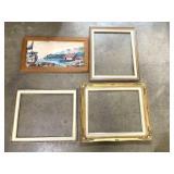 Framed art and 3 canvas frames