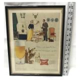 1958 framed Miller High Life ad