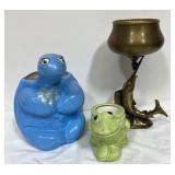 Vintage turtle, frog and fish planters