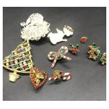 Vintage Christmas costume jewelry