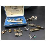 Vintage tie tacks and cuff links, with Bulova