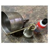 Metal funnel oil dabber and white lithium grease