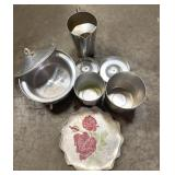 Aluminum ice buckets, punch bowl, pitcher, and