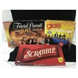 3 board games,-Trivial Pursuit, Glee and Scrabble