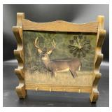 Key ring clock with deer background