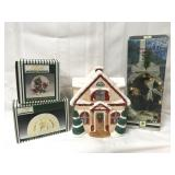 """Christmas decor including 16"""" decorated tree,"""