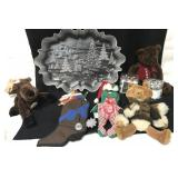 Christmas platter and mini ornaments, plush and