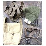 Canvas backpack,  harnesses, sacks, belts, and