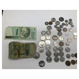 Foreign coins and money
