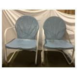 Two vintage metal outdoor patio chairs blue and