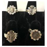 4 vintage religious costume jewelry rings