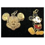2 Disney Mickey Mouse charms including one