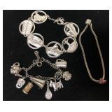 Lot of 3 charm bracelets costume jewelry