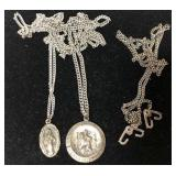 Sterling religious charms and chain