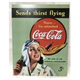 Metal Coca Cola sign 16x12 1/2