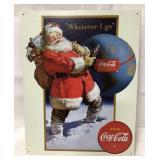 Metal Coca Cola Santa sign 16x12 1/2