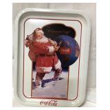Metal Coca Cola Santa tray 13x10