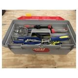 Toolbox and Contents - Screw Driver, Wood Rasp,