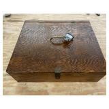 Handmade Hinged Wooden Lock Box with Padlock and