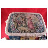Vintage sewing basket with contents & tin and
