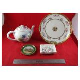 Porcelain lot: signed Hand  painted teapot,