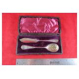 Hallmarked sugar spoon and butter knife in