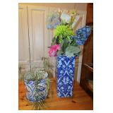 Blue and white floral pot and vase