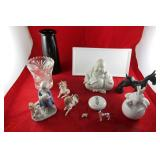 Home Decor: figures, vases, Glass dog,