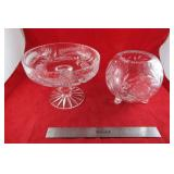Crystal: Pedestal bowl, and footed rose bowl