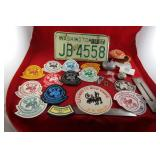 Memorabilia: License Plate, Curling badges & pins