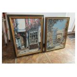 "Pair of framed needlepoints: 17.75"" x 12.75"""